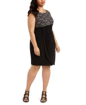 Plus Size Lace-Top Sheath Dress