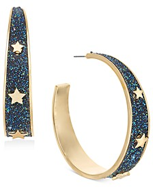 "Gold-Tone & Crystal Glitter Star Medium Hoop Earrings, 2"", Created For Macy's"