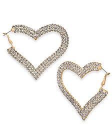 "Gold-Tone Pavé Crystal Side Heart Large Hoop Earrings, 2.72"", Created For Macy's"