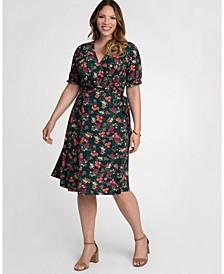 Women's Plus Size Tuscan Tie Wrap Dress