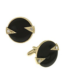 Jewelry 14K Gold Plated Crystal and Enamel Round Cufflinks
