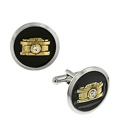 Jewelry Silver-Tone and 14K Gold-Plated Enamel Crystal Camera Cufflinks