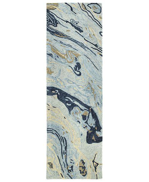 """Kaleen Marble MBL01-17 Blue 2'6"""" x 8' Runner Rug"""