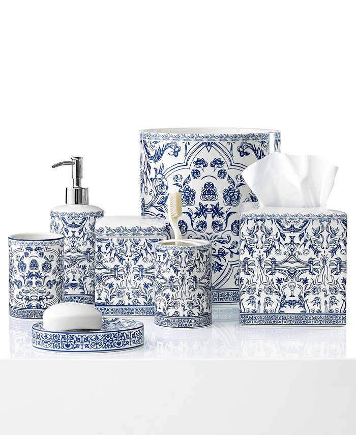 Cassadecor Damask Bath Accessory, Blue And White Bathroom Accessories