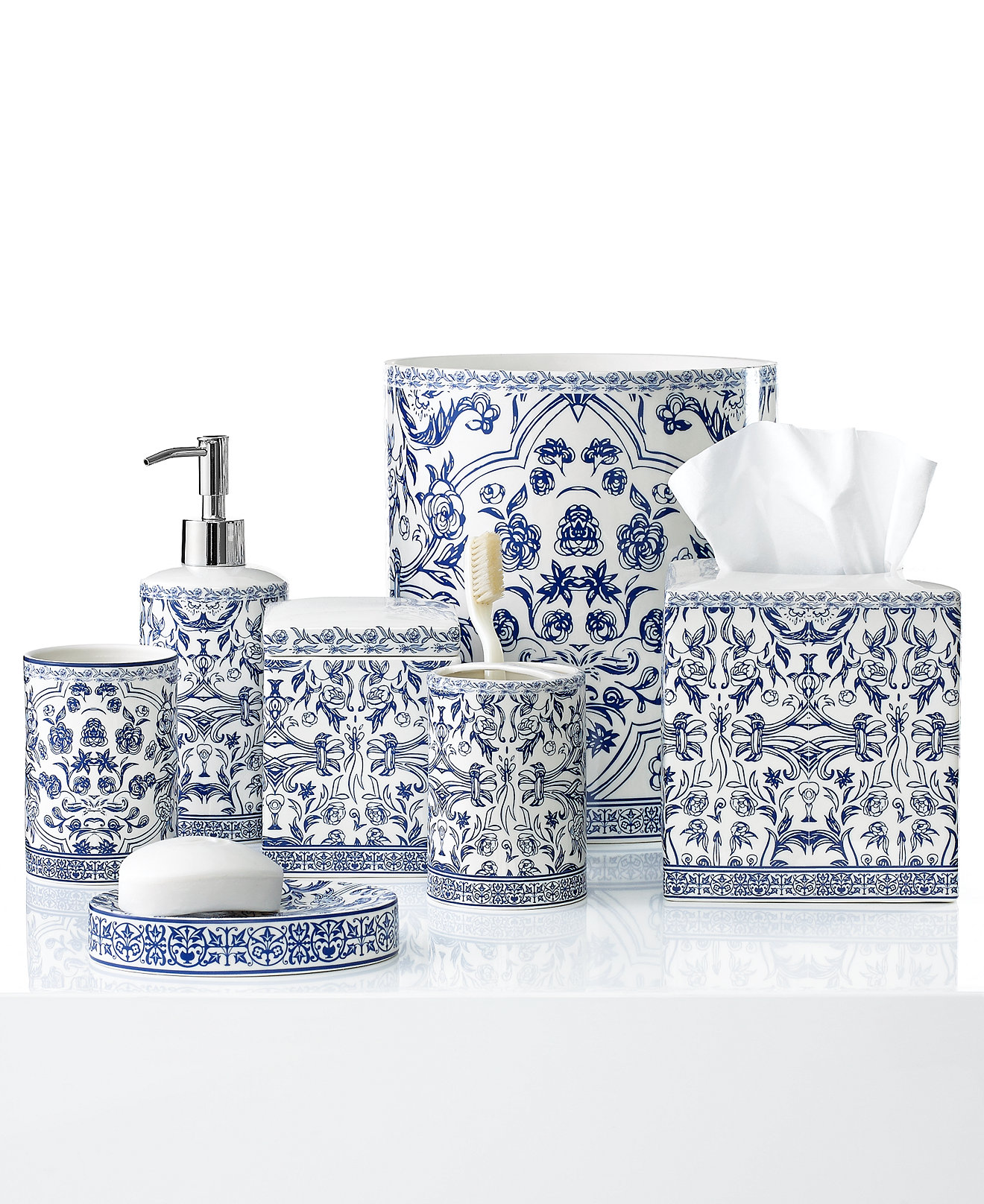 Blue and white porcelain bathroom accessories - Kassatex Bath Accessories Orsay Collection Bathroom Accessories