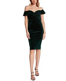 Bardot Off-The-Shoulder Sweetheart Velvet Dress