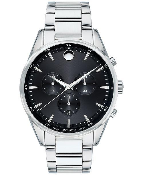 Movado Men's Swiss Chronograph Stratus Stainless Steel Bracelet Watch 42mm