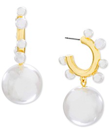 Pearl Drop Post Hoop Earring