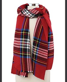 Classic Pleated Plaid Blanket Scarf