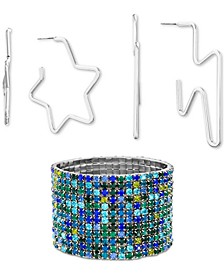 Silver-Tone Multicolor Pavé Stretch Bracelet & 2-Pc. Hoop Earring Gift Set