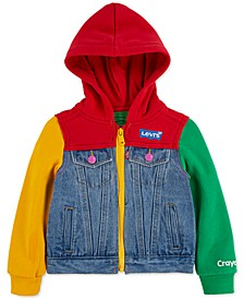 Little Girls Crayola Hooded Colorblocked Denim Trucker Jacket