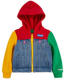 Levi's® Little Girls Crayola Hooded Colorblocked Denim Trucker Jacket