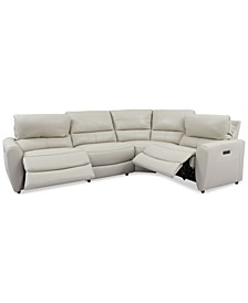 Danvors 4-Pc. Leather Sectional Sofa with 2 Power Recliners and Power Headrests