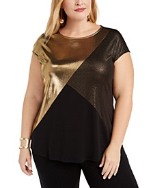 Plus Size Metallic Colorblocked T-Shirt, Created For Macy's