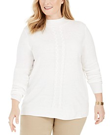 Plus Size Luxsoft Cable-Knit Sweater, Created for Macy's
