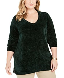 Plus Size V-Neck Chenille Sweater, Created For Macy's