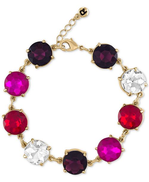 RACHEL Rachel Roy Gold-Tone Multicolor Stone Flex Bracelet
