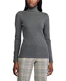 Puff-Sleeve Turtleneck Sweater