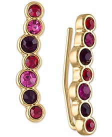 Gold-Tone Multicolor Stone Climber Earrings