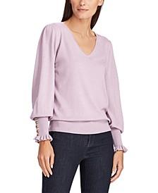 Button-Cuff Long-Sleeve Sweater