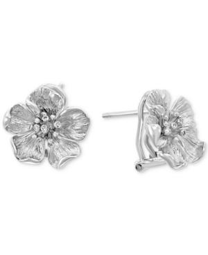 Effy Diamond Accent Flower Stud Earrings (1/8 ct. t.w.) in Sterling Silver
