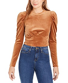 Velvet Puff-Sleeve Top