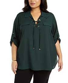 Plus Size Lace-Up Roll-Tab-Sleeve Top