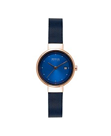 Women's Solar Powered Blue Stainless Steel Mesh Bracelet Watch 26mm