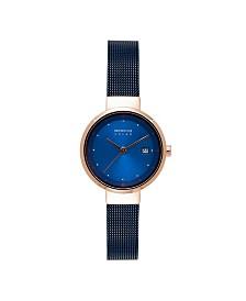 Bering Women's Solar Powered Blue Stainless Steel Mesh Bracelet Watch 26mm