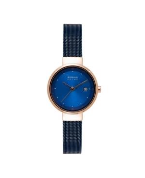 Women's Solar Powered Blue Stainless Steel Mesh Bracelet Watch 26mm