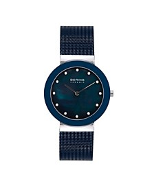 Women's Ceramic Crystal Blue Stainless Steel Mesh Bracelet Watch 35mm