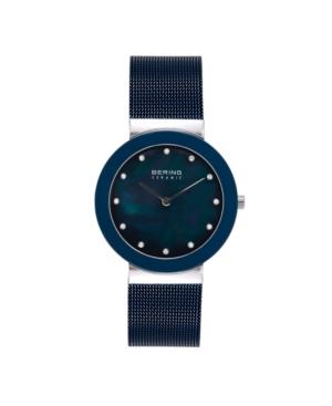 Women's Ceramic Crystal Blue Stainless Steel Mesh Bracelet Watch 35mm