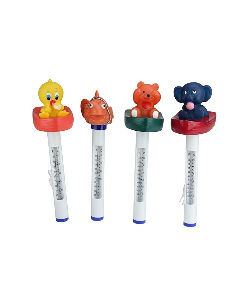 """Northlight Set of 4 Animal Themed Floating Swimming Pool Thermometers with Cords 9.5"""""""