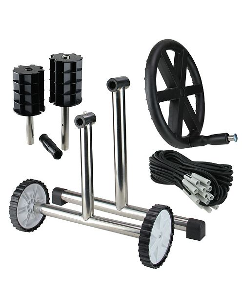 """Northlight 21"""" Ground Pool Cover Reel System with Stainless Steel Frame for 4'' Tubes"""