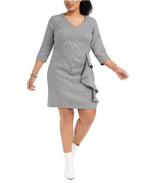 Plus Size Ruffled Houndstooth Sheath Dress