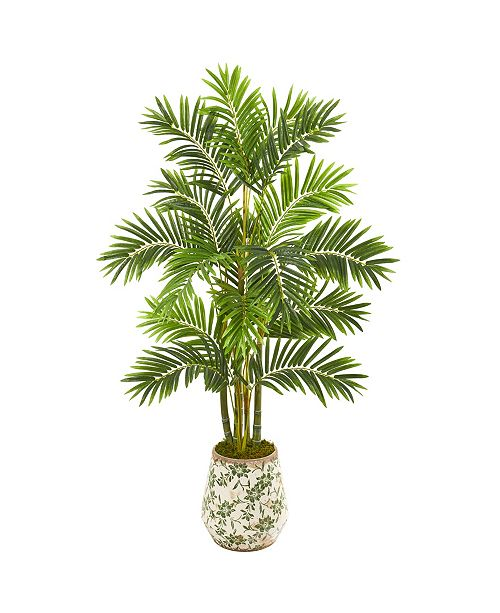 """Nearly Natural 61"""" Areca Palm Artificial Tree in Floral Planter"""