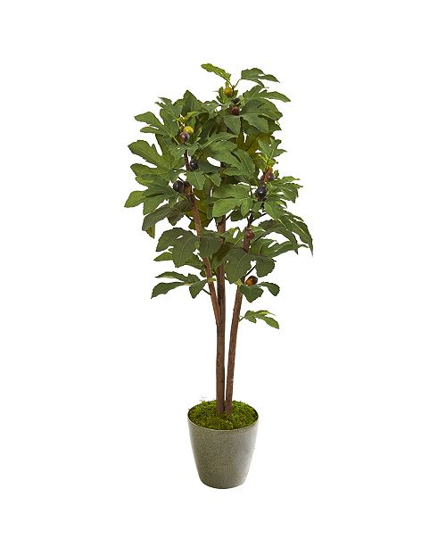 """Nearly Natural 47"""" Fig Artificial Tree in Green Planter"""