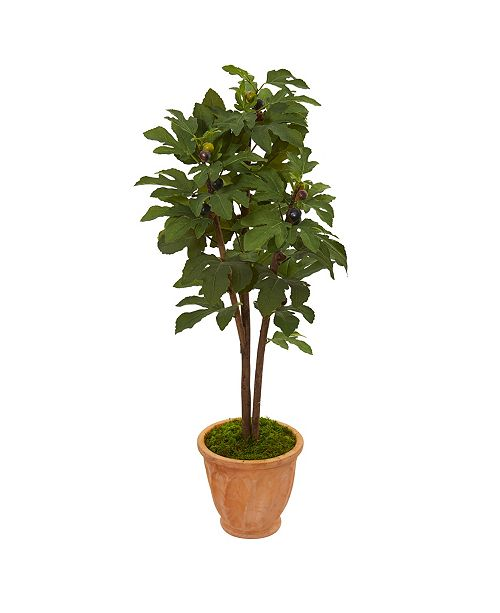 """Nearly Natural 47"""" Fig Artificial Tree in Terra-Cotta Planter"""