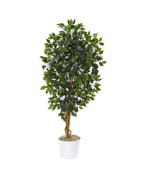 "Nearly Natural 65"" Ficus Artificial Tree in White Tin Planter"