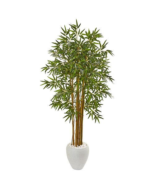 """Nearly Natural 65"""" Multi Bambusa Bamboo Artificial Tree in White Planter"""