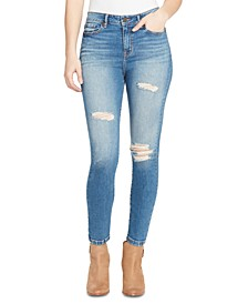 Destructed High-Rise Skinny Ankle Jeans
