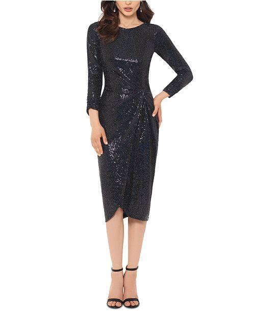 XSCAPE Sequin Twist-Knot Dress