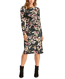 Floral Faux Wrap Midi Dress