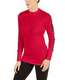 Calvin Klein Performance Logo-Stripe Mock-Neck T-Shirt