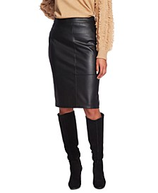 Faux-Leather Midi Skirt