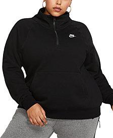 Nike Plus Size Sportswear Essential 1/4-Zip Fleece Top