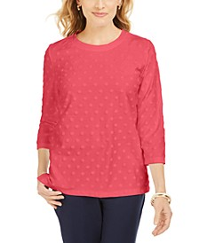 Petite Textured Dot Sweatshirt, Created For Macy's