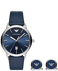 Men's Blue Leather Strap Watch 43mm Gift Set
