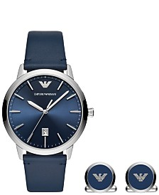 Emporio Armani Men's Blue Leather Strap Watch 43mm Gift Set