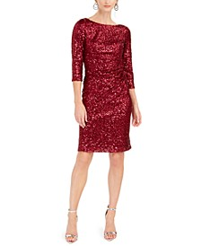 Sequined Ruched Sheath Dress